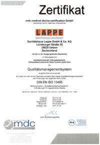 Sanitätshaus Lappe Zertifizierung Qualitätsmanagement nach DIn EN ISO 13485
