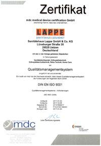 Sanitätshaus Lappe Zertifizierung Qualitätsmanagement nach DIn EN ISO 9001