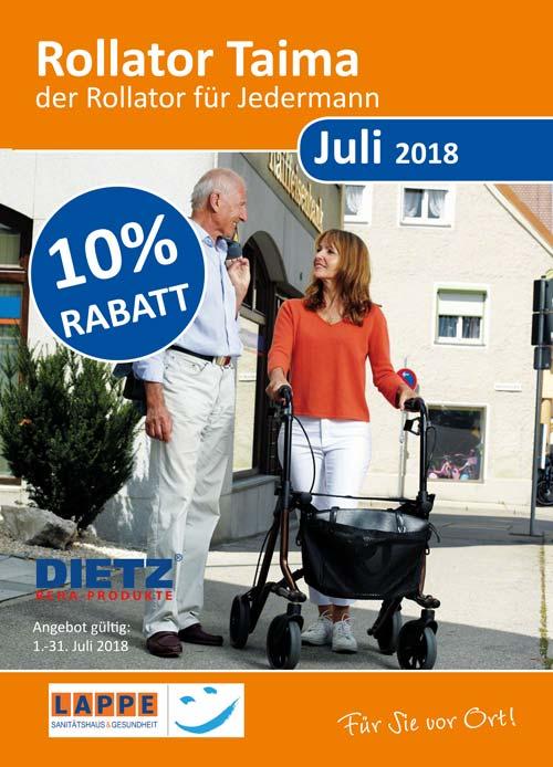 Sanitätshaus Lappe - Rabattaktion Juli 2018 - Rollator Taima