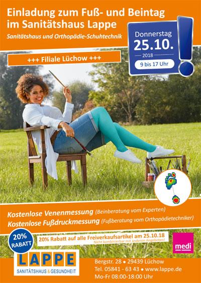 Sanitätshaus Lappe - Fuß- und Beintag in Lüchow am 25.10.2018