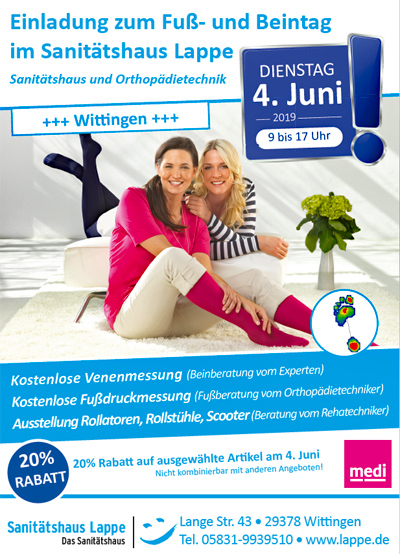 Sanitätshaus Lappe - Fuß- und Beintag Wittingen am 4.6.2019