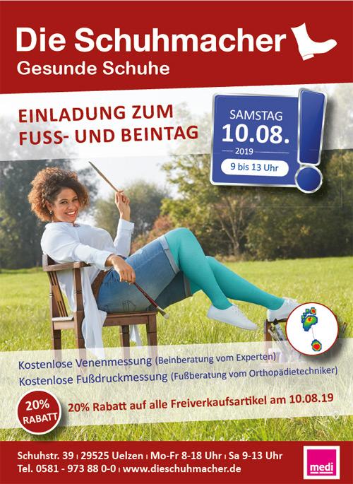 Sanitätshaus Lappe - Fuß- und Beintag bei Die Schuhmacher Uelzen am 10.08.2019