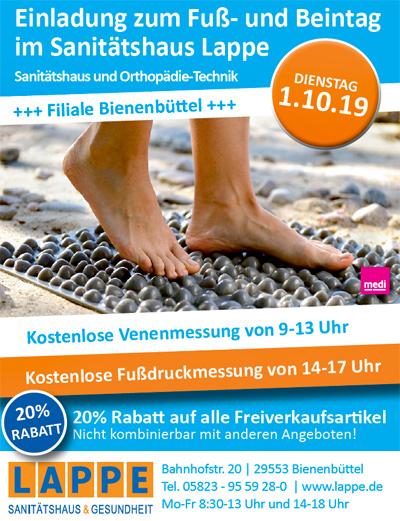 Sanitätshaus Lappe - Fuß- und Beintag Bienenbüttel 1.10.2019
