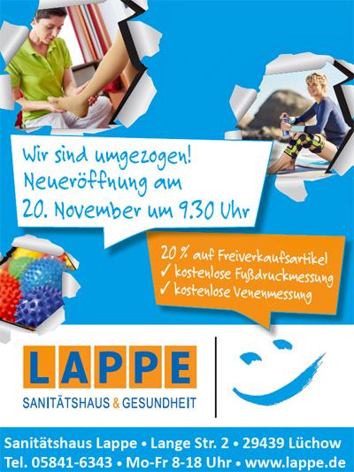 Sanitätshaus Lappe - Neueröffnung Filiale Lüchow 2019