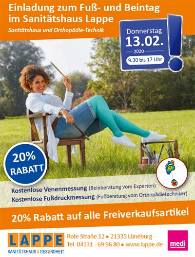 Sanitätshaus Lappe - Fuß- und Beintag in Lüneburg 13.02.2020
