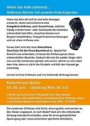 Anmeldeinformationen Kniearthrosewoche Lüneburg